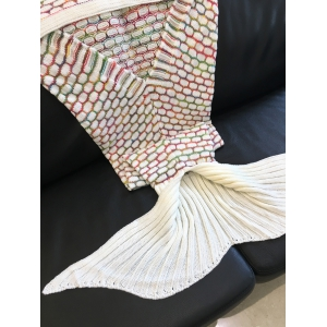High Quality Ellipse Pattern Knitted Mermaid Tail Design Blanket - COLORMIX