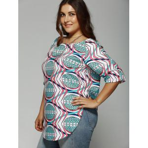 Plus Size Boat Collar 1/2 Sleeve Printed Slit Top -