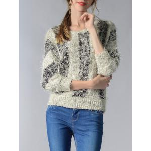 Trendy 3/4 Sleeve Hit Color Fluff Women's Sweater -