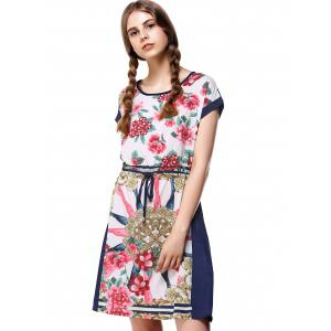 Floral Colorful Imprimer Drawstring Dress -
