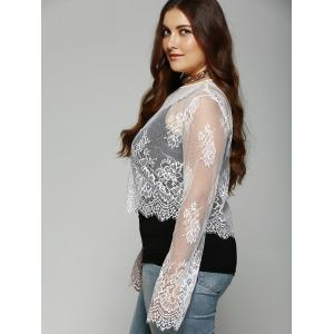 Plus Size Round Collar  See-Through Lace Top -