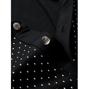 Polo Collar Letter Print Long Sleeve Polka Dot T-Shirt For Men -