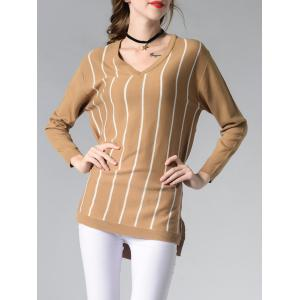 Long Sleeve V-Neck Striped High Low Sweater -