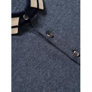 Splicing Design Polo Collar Letter Embroidered Long Sleeve T-Shirt For Men -