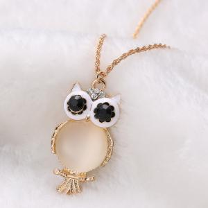 Graceful Faux Opal Owl Sweater Chain For Women -