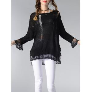 Scoop Neck Hollow Out Spliced Women's Sweater -