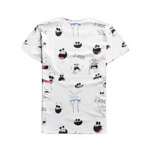 3D Cartoon Expression Round Neck Character T-Shirt - WHITE L