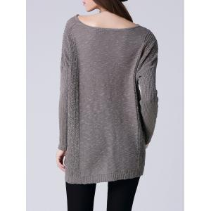 Scoop Neck Long Sleeve Women's Thin Sweater - GRAY ONE SIZE
