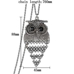 Vintage Alloy Owl Sweater Chain For Women - SILVER