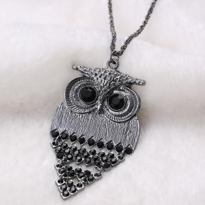 Vintage Alloy Owl Sweater Chain For Women - BLACK