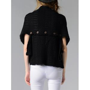 Trendy Collarless Button Design Solid Color Women's Cardigan - BLACK ONE SIZE