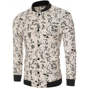 Ancient Letter Print Bomber Collar Long Sleeve Jacket - OFF WHITE L