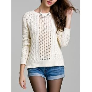 Long Sleeve Hollow Out Solid Color Sweater -