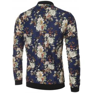 Vintage Flower Print Bomber Collar Long Sleeve Jacket -