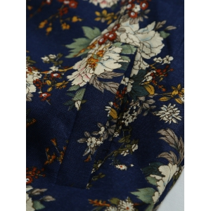 Vintage Flower Print Bomber Collar Long Sleeve Jacket - DEEP BLUE 2XL