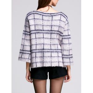 3/4 Sleeve Round Neck Women's Plaid Sweater -