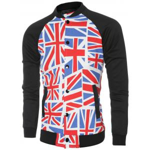 The Union Jack Printed Baseball Collar Spliced Long Sleeve Jacket For Men - COLORMIX 2XL