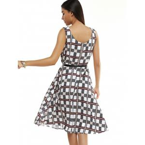 Elegant Geometric Pattern Fit and Flare Dress For Women -