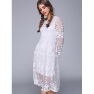 3/4 Sleeve Lace Splicing Embroidery Dress -