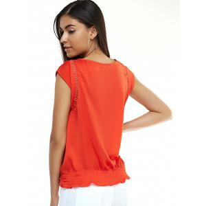 Stylish Cap Sleeve Hollow Out Blouse For Women -