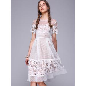 See-Through Lace Splicing Embroidery Dress -