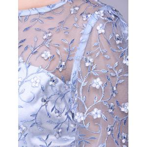 See Through Lace Insert Embroidery Bridesmaid Dress - LIGHT BLUE 2XL