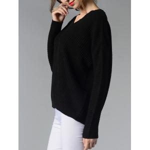 Trendy V-Neck Ribbed Solid Color Women's Sweater -