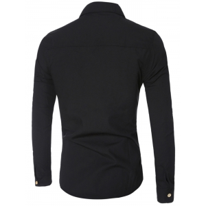 Chic Pocket Hem Turn-Down Collar Long Sleeve Shirt For Men -