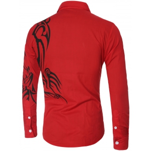 Tatoo Floral Printed Long Sleeve Shirt - RED 2XL
