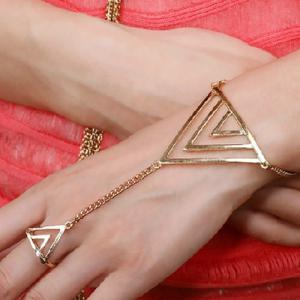 Vintage Triangle Bracelet With Ring For Women -