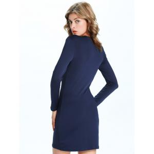 Trendy Criss Cross Pure Color Slimming Women's Dress - PURPLISH BLUE 2XL