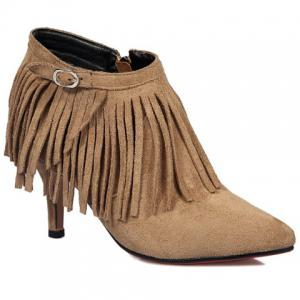 Side Zip Pointed Toe Fringe Ankle Boots - CAMEL 39