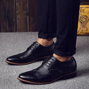 Stylish Tie Up and Wingtip Design Formal Shoes For Men - BLACK 42