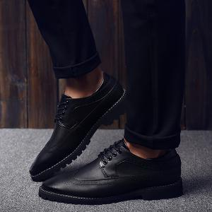 Stylish PU Leather and Tie Up Design Formal Shoes For Men - BLACK 44