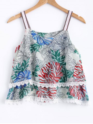 Shop Stylish Spaghetti Strap Floral Print Lace Panelled Top For Women