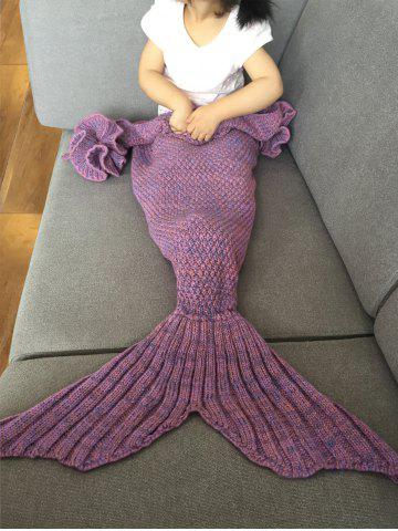 Affordable Falbala Shape Mermaid Tail Design Knitted Baby Blankets LIGHT PURPLE