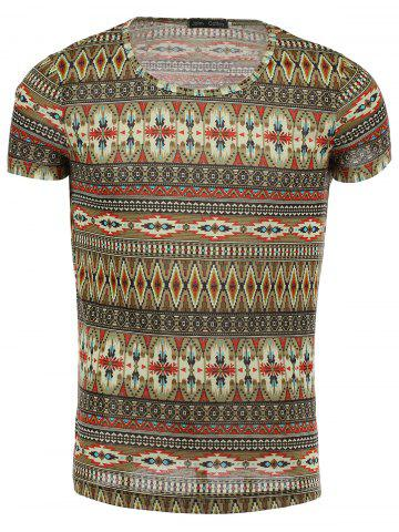 Chic Round Neck Ethnic Style Geometric Pattern Short Sleeve T-Shirt For Men