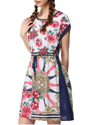 Floral Colorful Imprimer Drawstring Dress