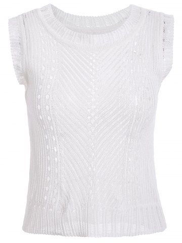 Sale Casual Hollow Out Knitted Tank Top For Women