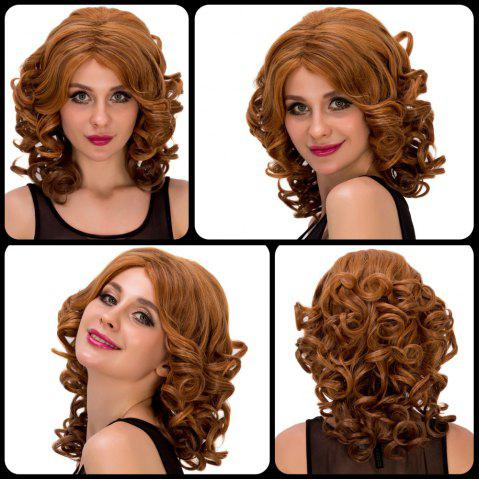 Outfits Medium Curly Colormix Side Parting Synthetic Hair Wig COLORMIX