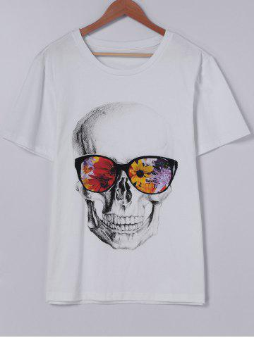 Trendy Fashionable Short Sleeves Round Collar CrossBones Printing With T-Shirt For Men WHITE L