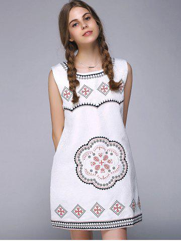 Hot Sweet Floral Geometric Embroidered Sleeveless A Line Dress - ONE SIZE WHITE Mobile