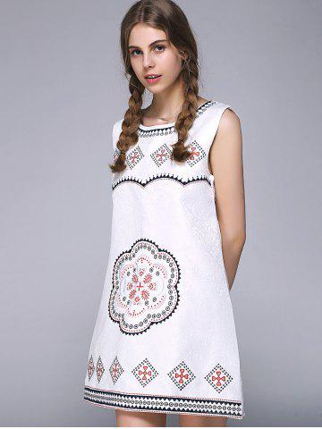 Best Sweet Floral Geometric Embroidered Sleeveless A Line Dress - ONE SIZE WHITE Mobile