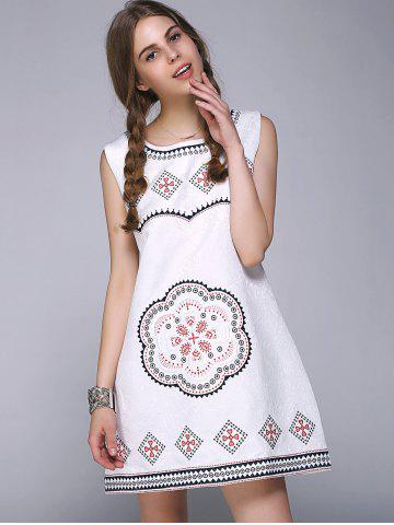 Shop Sweet Floral Geometric Embroidered Sleeveless A Line Dress - ONE SIZE WHITE Mobile