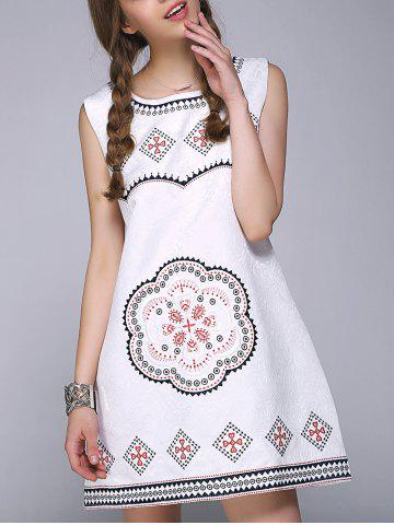 Trendy Sweet Floral Geometric Embroidered Sleeveless A Line Dress - ONE SIZE WHITE Mobile