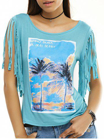Unique Fringed Printed Short Sleeve T-Shirt