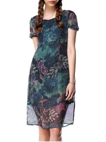 New Gauzy Short Sleeve Floral Pattern Dress For Women