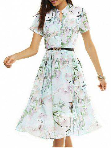 Discount Belted Printed Short Sleeve Dress