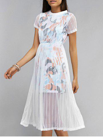 Chic Voile Splicing Short Sleeve Printed Dress