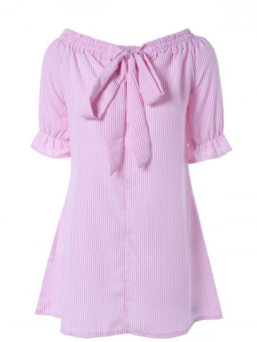 Buy Off Shoulder Bowknot Striped Tunic Dress